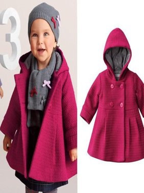 New Baby Toddler Girl Autumn Winter Horn Button Hooded Pea Coat Outerwear Jacket