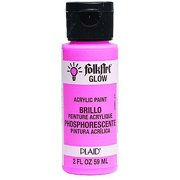 FolkArt Glow-in-the-Dark Acrylic Paint Colors by Plaid - Pink, 2 oz.