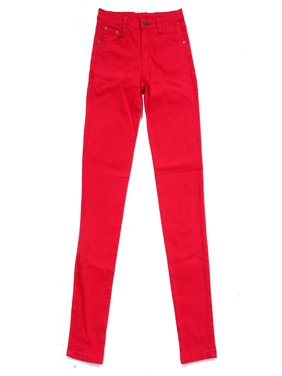 Women's Jeans Jeggings Five Pocket Stretch Denim Pants (Red, Large)