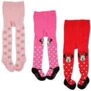 c8bd0bb9cd492a Disney Minnie Mouse Polka Dot Tights, 3 Piece Variety Pack, Baby Girls, 0