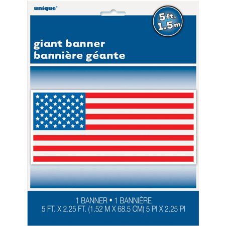 Plastic American Flag Wall Banner, 60