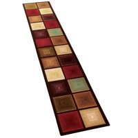 """Optic Squares Runner Rug in Deep, Rich Hues - Skid-Resistant Backing Perfect for Hallway, 20"""" X 120"""", Multi"""