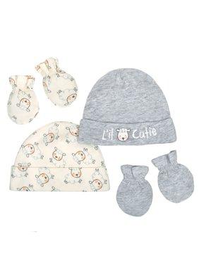 Newborn Baby Boy or Girl Unisex Organic Cap and Mittens Set, 4pc