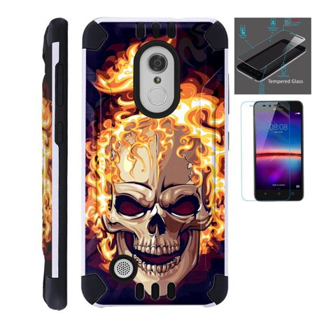 For LG Aristo LV3 / LG Rebel 2 / LG K8 2017 / LG Fortune / LG K4 2017 / LG Phoenix 3 / LG Risio 2 Case + Tempered - Phoenix Fire Band