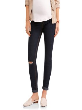 Maternity Full Panel Super Soft Destructed Skinny Boyfriend Crop Jeans -- Available in Plus Size