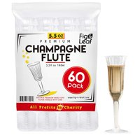 Fig & Leaf (60 Count) Premium Champagne Flutes 5.5-Ounce Hard Plastic l Two Piece l Crystal Clear Champagne Glasses 5.5-OZ l Perfect for Mimosas Moscato Cocktails Wine Wedding