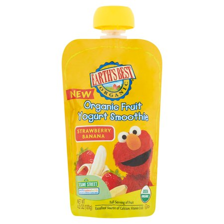 Earth's Best Organic Fruit Yogurt Smoothie For Babies, Strawberry Banana, Vitamins and Calcium, 4.2