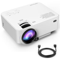 DBPOWER T20 1500 Lumens LCD Mini Projector, Multimedia Home Theater Video Projector Support 1080P HDMI USB SD Card VGA AV Home Cinema TV Laptop Game iPhone Android Smartphone with HDMI Cable