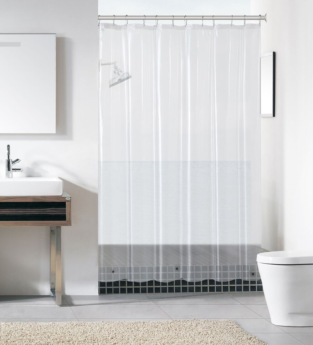 Peva Plastic Shower Curtain Liners With Magnets By Victoria Classics   Clear