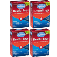 (4 pack) Hyland's Restful Legs Tablets, Natural Relief of Itching, Crawling, Tingling and Leg Jerk, 50 Count