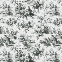 Waverly Inspirations TOILE GREY 100% Cotton Duck Fabric 45'' Wide, 180 Gsm, Quilt Crafts Cut By The Yard
