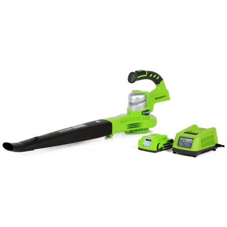 Greenworks 24V 90/130 MPH Dual Speed Cordless Blower, 2.0 AH Battery Included - Majestic Blowers