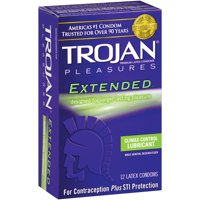Trojan Pleasures Extended Duration Enhancing Lubricated Latex Condoms - 12 ct