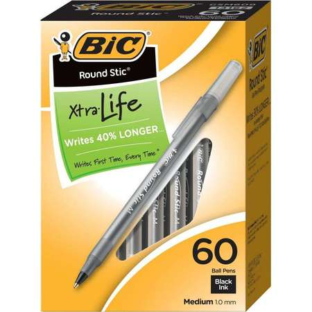 Blacklight Pen (BIC Round Stic Xtra Life Ball Pen, Medium Point (1.0mm), Black, 60 Count)