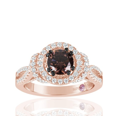 Chocolate Wedding Ring (Rose Sterling Silver Brown Chocolate and White Cubic Zirconia Engagement)