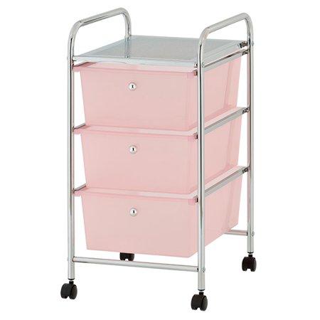 Urban Shop Plastic 3 Drawer Rolling Organizer Storage Cart