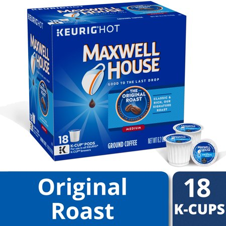 K-cup French Roast Coffee (Maxwell House Original Roast Ground Coffee K Cups, Caffeinated, 18 ct - 6.2 oz Box)