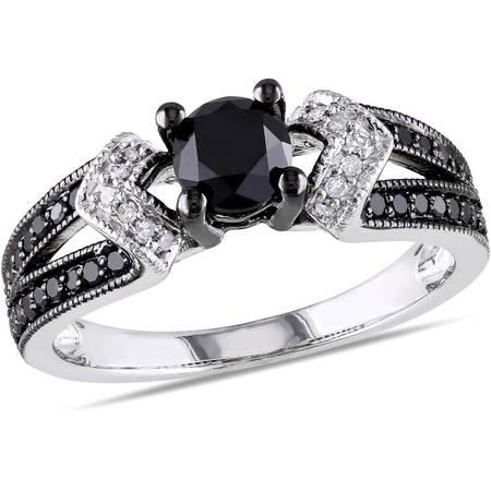 Diamond Split Shank Ring - 1 Carat T.W. Black and White Diamond Sterling Silver Split Shank Engagement Ring