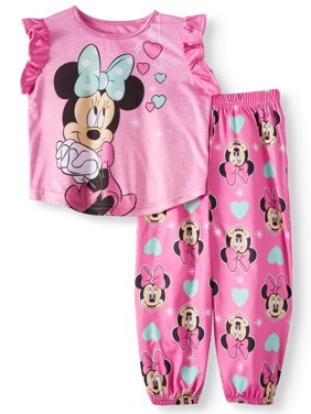 Toddler Girls' Minnie Mouse Short Sleeve Top and Pants, 2-Piece Pajama Set