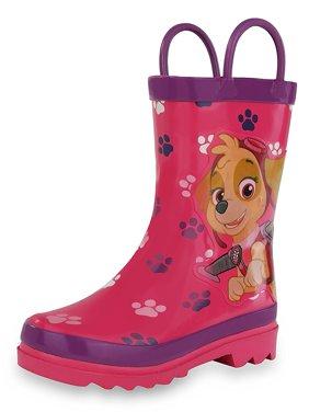 Nickelodeon Kids Girls' Paw Patrol Character Printed Waterproof Easy-On Rubber Rain Boots (Toddler/Little Kids)