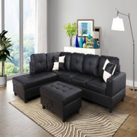 AYCP Furniture L Shape Sectional Sofa with Ottoman, Left Chaise, Black Faux Leather