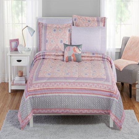 Mainstays Floral Medallion Bed in a Bag Bedding Set, Queen