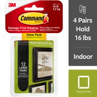 Command Large Black Picture Hanging Strips Value Pack, 12 Pairs (4 pairs hold 16 lb)