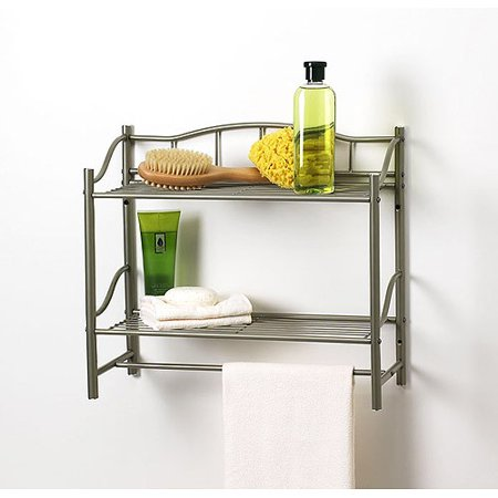 - CreativeWare HOME Complete Bath Pearl Nickle Finish 2 Shelf with Towel Bar Wall Organizer