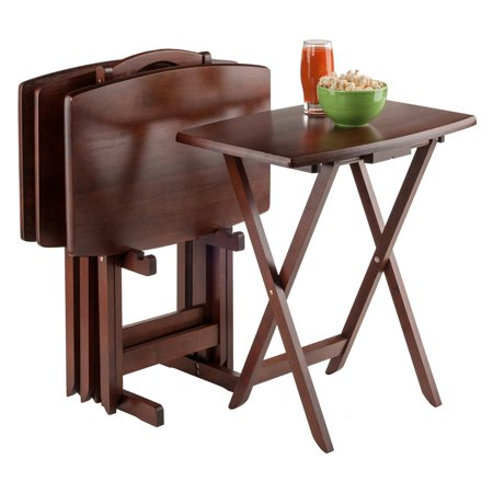 - Winsome Wood Darryl 5-Piece Oversize Snack Table Set, Walnut Finish