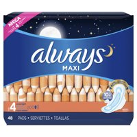Always Maxi, Size 4, Overnight Pads With Wings, Unscented