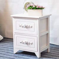 JERRY & MAGGIE - 2 Drawer White Nightstand Curving Flower Pattern Night Stand Storage Bedside Table Real Natural Paulownia Wood (2 Tier | Flower Curving)