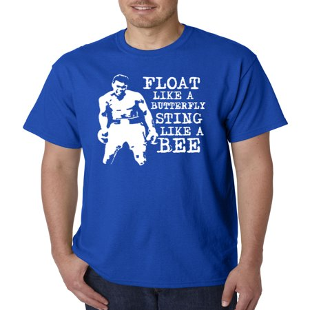 Trendy USA 446 - Unisex T-Shirt Float Like A Butterfly Sting Like A Bee Muhammad Ali Champion Small Royal Blue