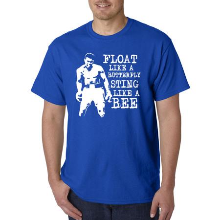 Trendy USA 446 - Unisex T-Shirt Float Like A Butterfly Sting Like A Bee Muhammad Ali Champion Small Royal