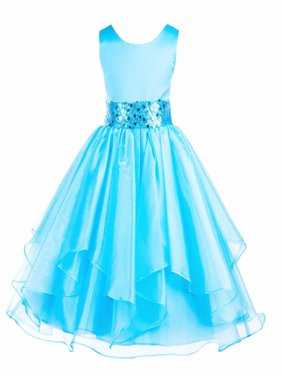 Ekidsbridal Satin Ruffles Organza Flower Girl Dress Elegant Wedding Pageant Birthday Special Occasions New 012S
