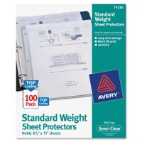 Avery(R) Standard Weight Sheet Protectors 75536, Box of 100