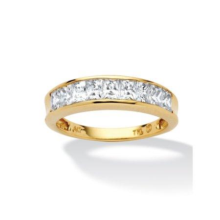 .81 TCW Princess-Cut Cubic Zirconia 10k Yellow Gold Channel-Set Anniversary Ring Wedding Band ()