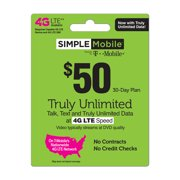 Simple Mobile $50 TRULY UNLIMITED 4G LTE** Data, Talk & Text 30-Day Plan + 10GB for Mobile Hotspot!^ (Video typically streams at DVD quality) (Email Delivery)