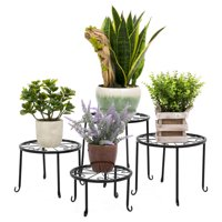 Best Choice Products 4-in-1 Metal Flower Plant Pot Stand Rack Set Decoration Accent w/ Different Heights - Black