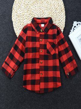 Kacakid Baby Girls Boys Long Sleeve Plaid Shirts Buttons Fall Tops Blouses