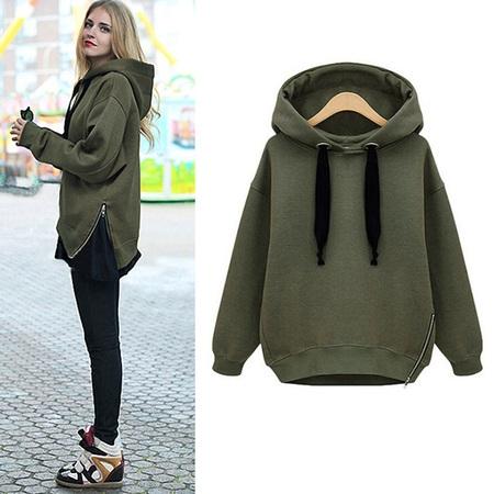 Fashion Women Autumn Winter Lady's Casual Long Sleeve Hoodies Sweatshirt Warm Outwear Coat  with Fleece Draw String S-M-L-XL-XXL Dark Green Jacket Fleece