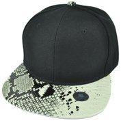 Black White Faux Snake Skin Pattern Visor Hat Cap Blank Plain Solid Snapback e408264619ab