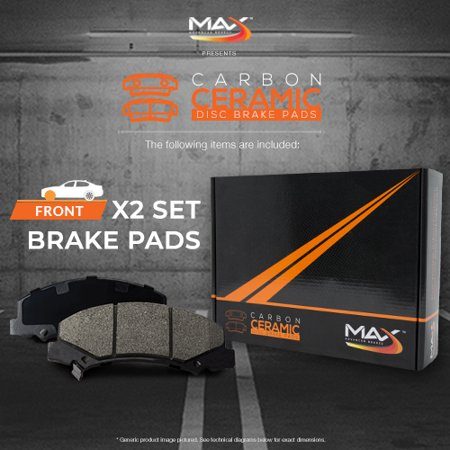 Max Brakes Front Carbon Ceramic Performance Disc Brake Pads KT171051 | Fits: 2005 05 2006 06 Dodge Ram 1500 8.3L V10 - image 4 de 6