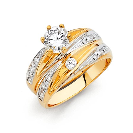 FB Jewels 14K White and Yellow Gold Two Tone Cubic Zirconia CZ Ladies Wedding Band And Engagement Bridal Ring Two Piece Set Size 5.5](Jewel Tone Wedding)