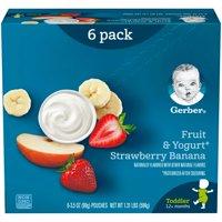Gerber Toddler Food, Fruit & Yogurt Strawberry Banana , 3.5 oz Pouch (Pack of 6)