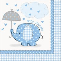 (3 Pack) Elephant Baby Shower Napkins, 6.5 in, Blue, 16ct