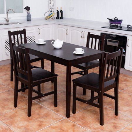 Pine Kitchen Furniture (Costway 5PCS Solid Pine Wood Dining Set Table and 4 Chairs Home Kitchen Furniture Brown )
