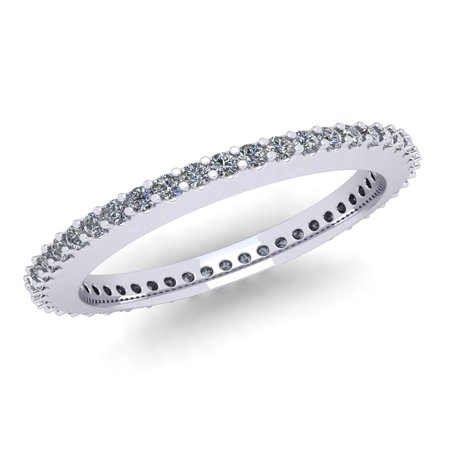 Natural .45Ct Round Cut Brilliant Diamond Stackable Women's Anniversary Wedding Eternity Band Ring Solid 10k White Gold G-H I1