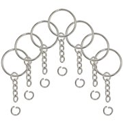 73669ac433 Split Key Ring with Chain and Open Jump Ring 1 Inch Key Chain Nickel Plated  Silver