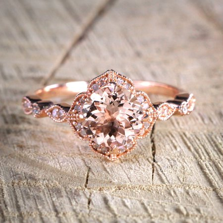 Antique Design 1.25 Carat Peach Pink Morganite (Round Shaped) and Diamond Engagement Ring in 10k Rose Gold (Antique Looking Engagement Ring)
