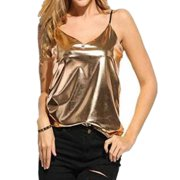 df63362a6e3 Womens Top Sexy Vest Fashion Camisole Sleeveless Tank Top T-Shirt Blouse  Casual Gold L